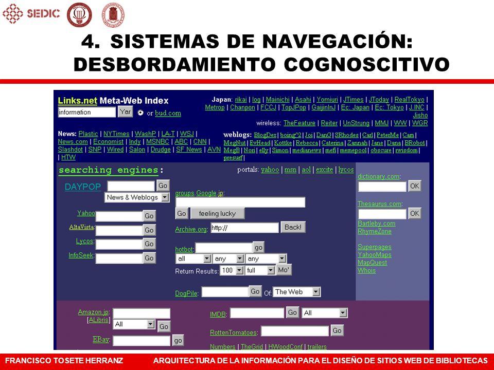 FRANCISCO TOSETE HERRANZARQUITECTURA DE LA INFORMACIÓN PARA EL DISEÑO DE SITIOS WEB DE BIBLIOTECAS 4.SISTEMAS DE NAVEGACIÓN: DESBORDAMIENTO COGNOSCITI
