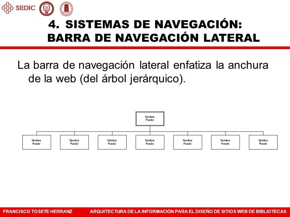FRANCISCO TOSETE HERRANZARQUITECTURA DE LA INFORMACIÓN PARA EL DISEÑO DE SITIOS WEB DE BIBLIOTECAS La barra de navegación lateral enfatiza la anchura