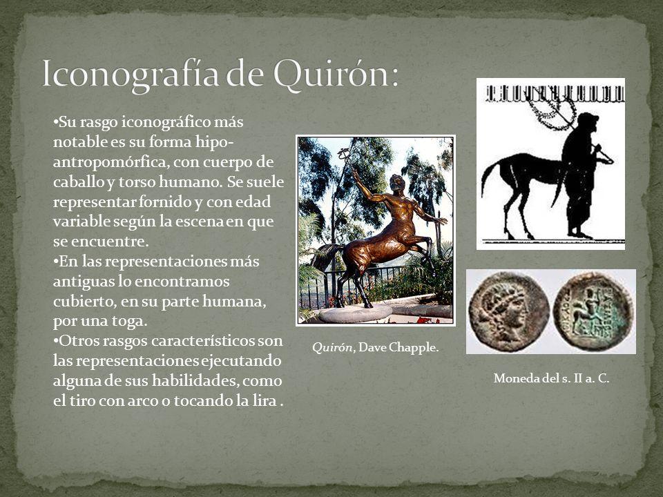 Su rasgo iconográfico más notable es su forma hipo- antropomórfica, con cuerpo de caballo y torso humano. Se suele representar fornido y con edad vari
