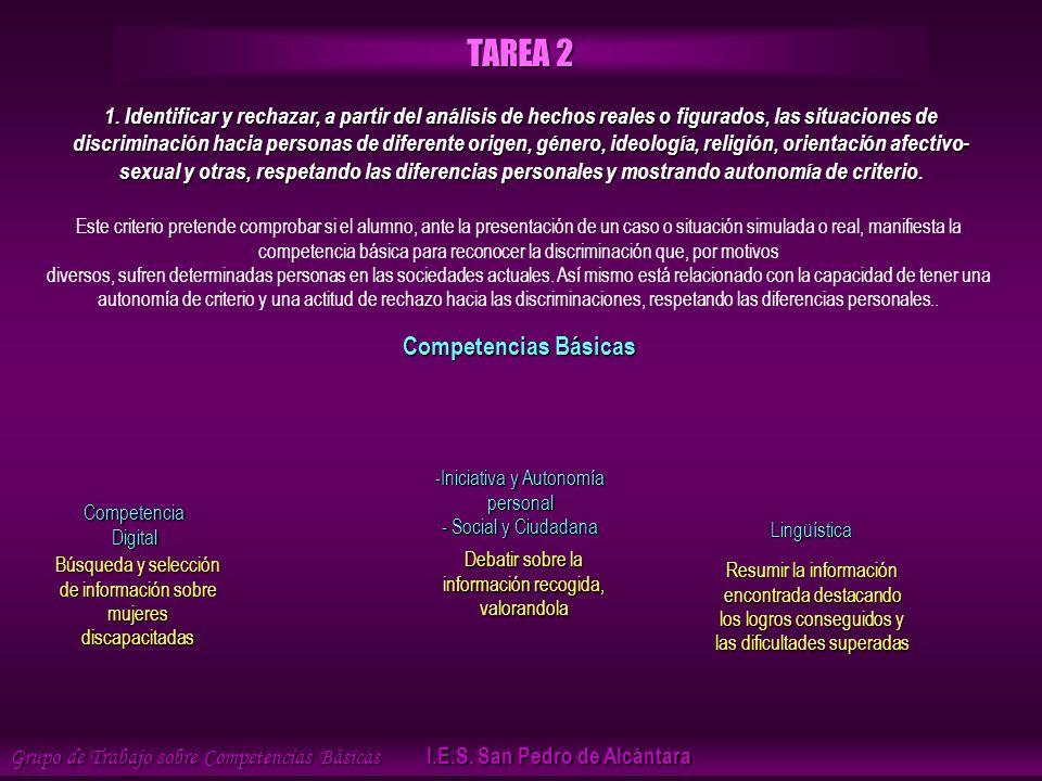 Búsqueda y selección de información sobre mujeres discapacitadas Grupo de Trabajo sobre Competencias Básicas I.E.S.