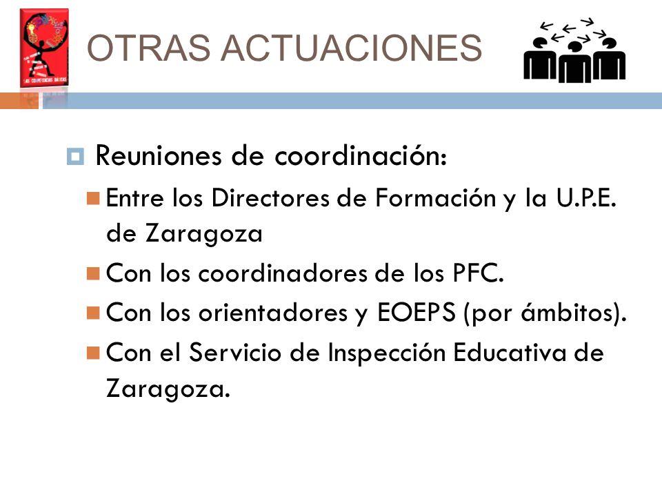 OTRAS ACTUACIONES Reuniones de coordinación: Entre los Directores de Formación y la U.P.E.