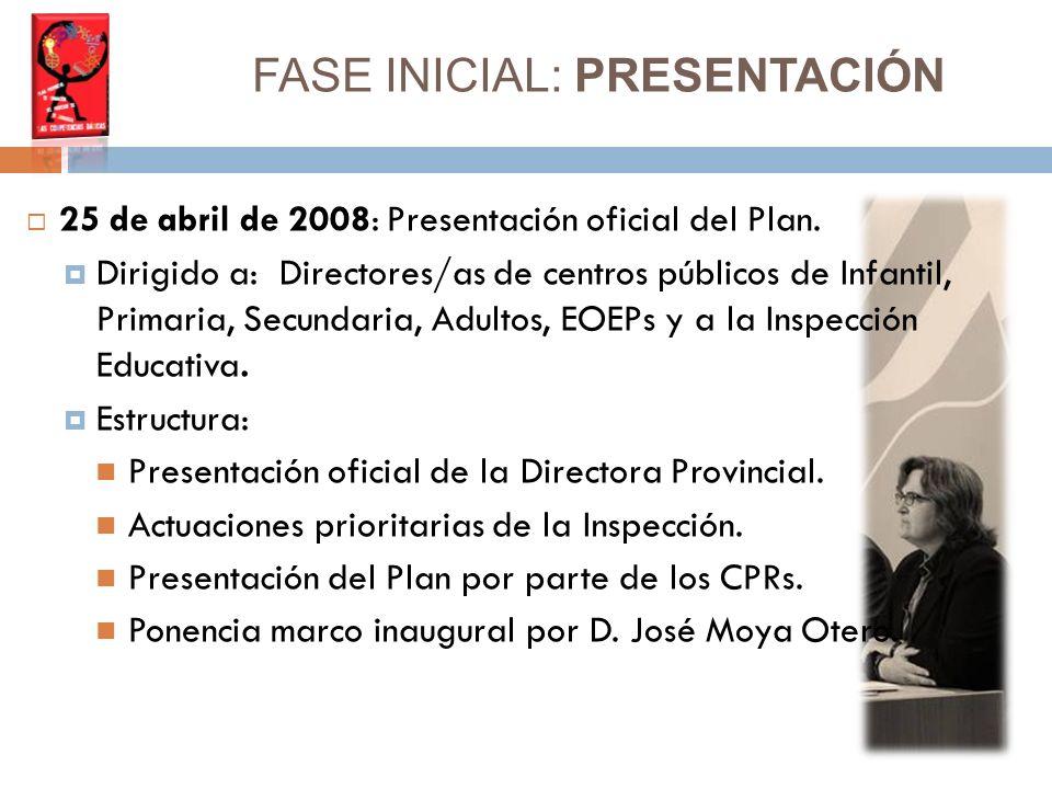 FASE INICIAL: PRESENTACIÓN 25 de abril de 2008: Presentación oficial del Plan.