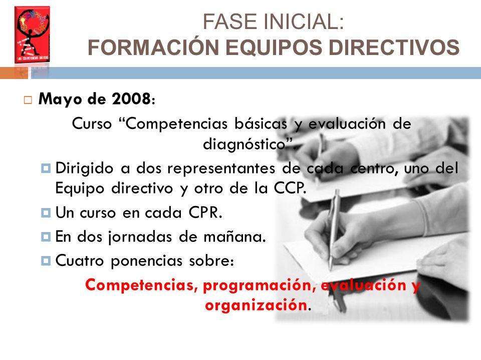 Mayo de 2008: Curso Competencias básicas y evaluación de diagnóstico.