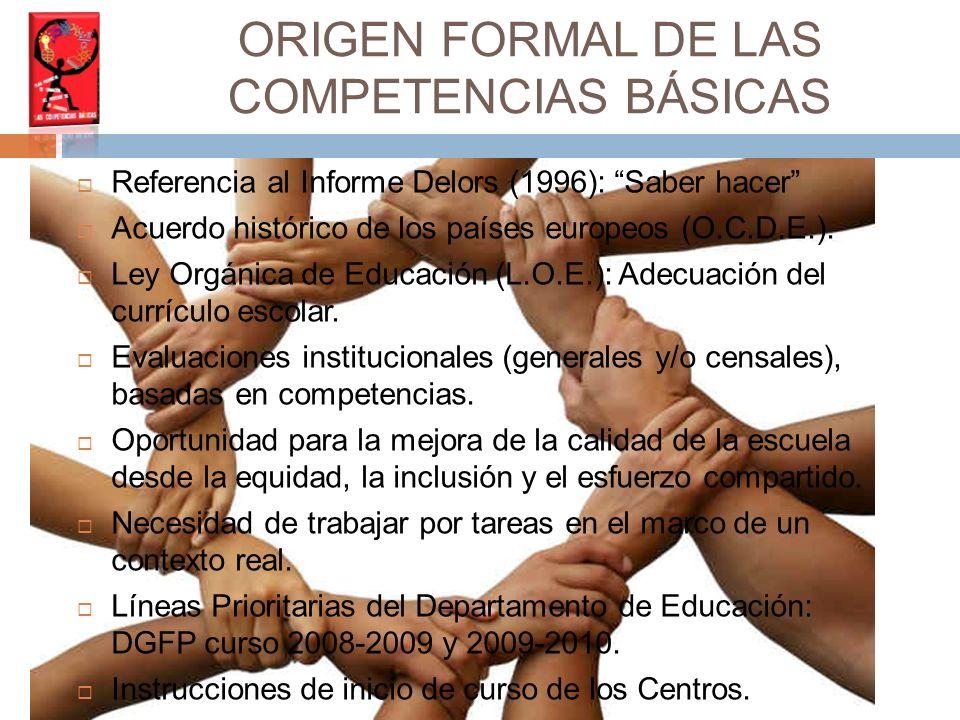 Referencia al Informe Delors (1996): Saber hacer Acuerdo histórico de los países europeos (O.C.D.E.).