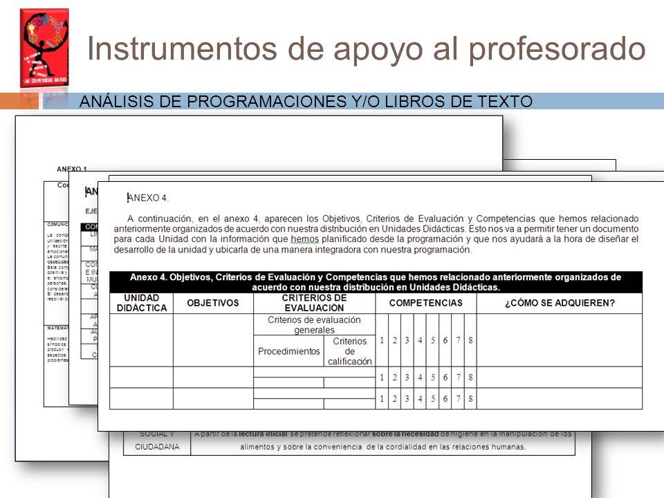 Instrumentos de apoyo al profesorado ANÁLISIS DE PROGRAMACIONES Y/O LIBROS DE TEXTO