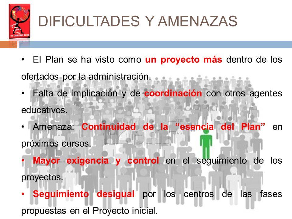 DIFICULTADES Y AMENAZAS El Plan se ha visto como un proyecto más dentro de los ofertados por la administración.