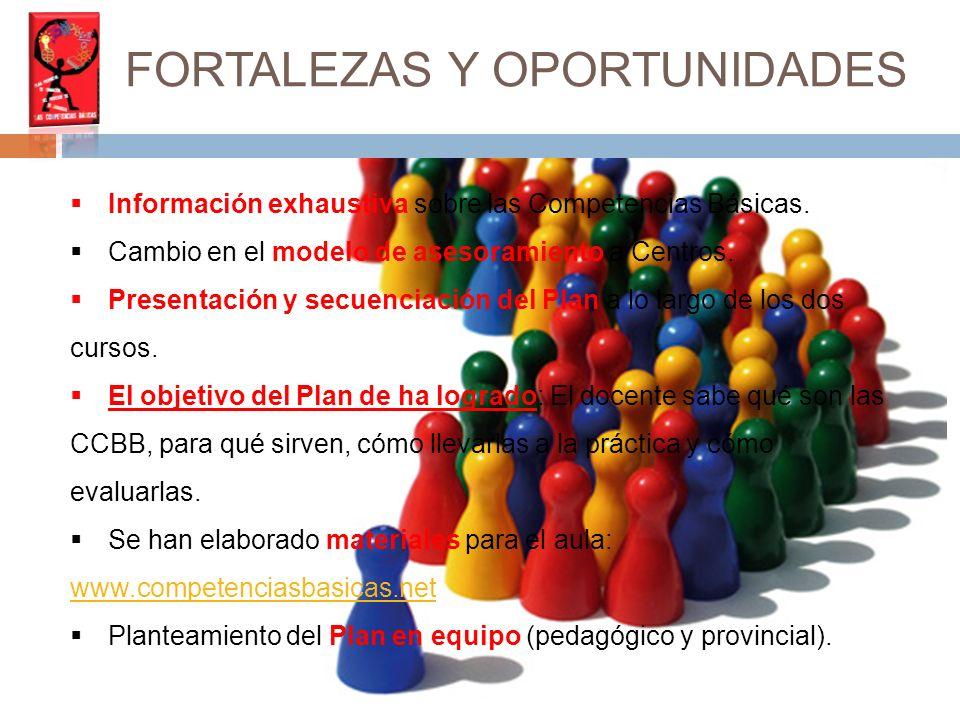 FORTALEZAS Y OPORTUNIDADES Información exhaustiva sobre las Competencias Básicas.