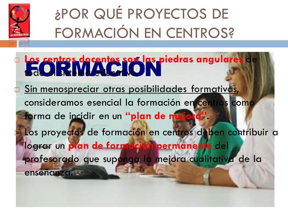CARACTERÍSTICA DE LOS PROYECTOS DE FORMACIÓN EN CENTROS El proyecto es asumido por el centro, aprobado por el Claustro y el Consejo Escolar y LIDERADO por el equipo directivo.