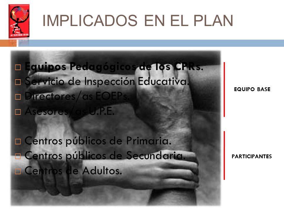 IMPLICADOS EN EL PLAN Equipos Pedagógicos de los CPRs.