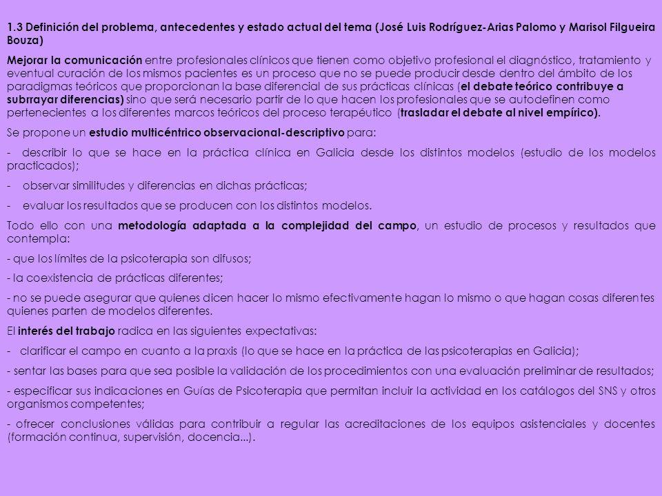 1.3 Definición del problema, antecedentes y estado actual del tema (José Luis Rodríguez-Arias Palomo y Marisol Filgueira Bouza) Mejorar la comunicació