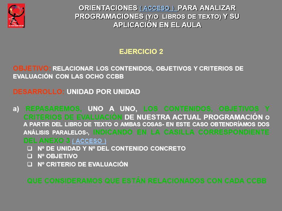 ORIENTACIONES ( ACCESO ) PARA ANALIZAR PROGRAMACIONES (Y/O LIBROS DE TEXTO) Y SU APLICACIÓN EN EL AULA ( ACCESO ) ( ACCESO ) EJERCICIO 2 OBJETIVO: REL
