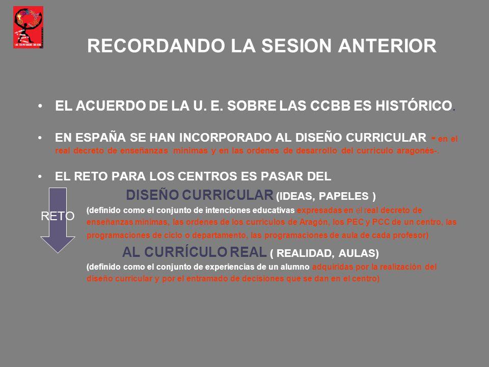 EL ACUERDO DE LA U. E. SOBRE LAS CCBB ES HISTÓRICO. EN ESPAÑA SE HAN INCORPORADO AL DISEÑO CURRICULAR - en el real decreto de enseñanzas mínimas y en