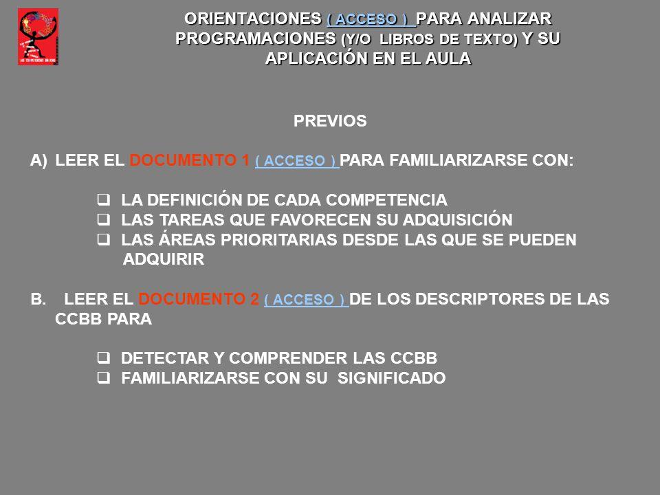 ORIENTACIONES ( ACCESO ) PARA ANALIZAR PROGRAMACIONES (Y/O LIBROS DE TEXTO) Y SU APLICACIÓN EN EL AULA ( ACCESO ) ( ACCESO ) PREVIOS A)LEER EL DOCUMEN