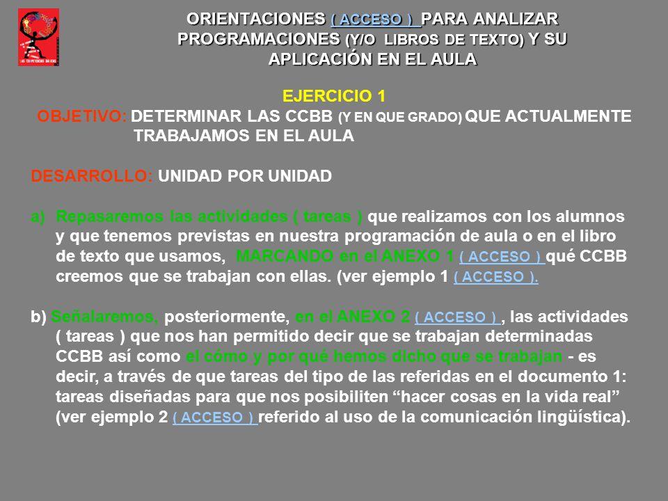 ORIENTACIONES ( ACCESO ) PARA ANALIZAR PROGRAMACIONES (Y/O LIBROS DE TEXTO) Y SU APLICACIÓN EN EL AULA ( ACCESO ) ( ACCESO ) EJERCICIO 1 OBJETIVO: DET
