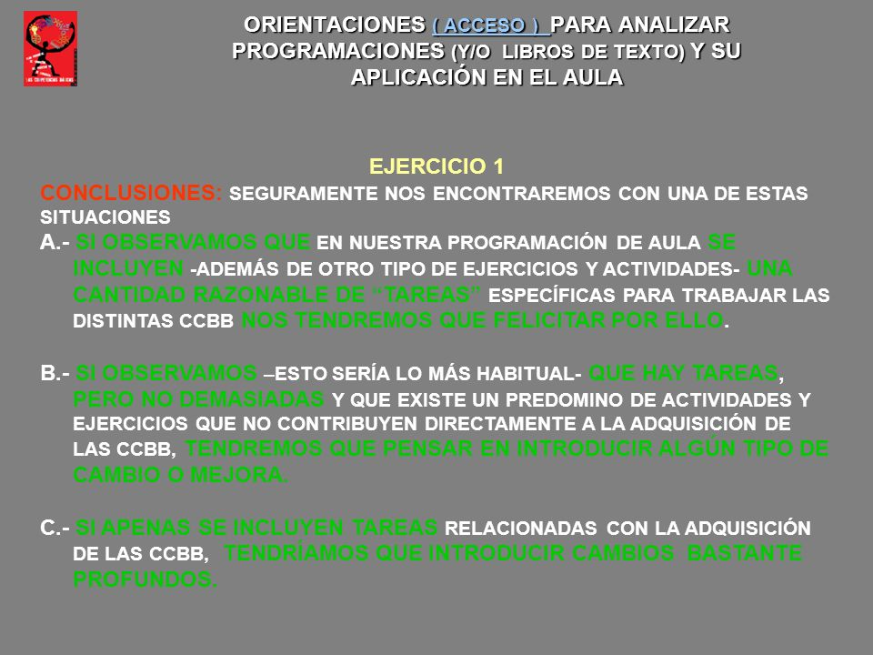ORIENTACIONES ( ACCESO ) PARA ANALIZAR PROGRAMACIONES (Y/O LIBROS DE TEXTO) Y SU APLICACIÓN EN EL AULA ( ACCESO ) ( ACCESO ) EJERCICIO 1 CONCLUSIONES: