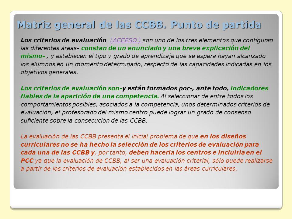 Matriz general de las CCBB. Punto de partida Los criterios de evaluación (ACCESO ) son uno de los tres elementos que configuran(ACCESO ) las diferente