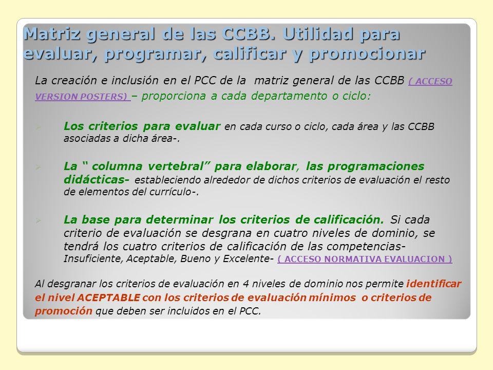 Matriz general de las CCBB. Utilidad para evaluar, programar, calificar y promocionar Matriz general de las CCBB. Utilidad para evaluar, programar, ca