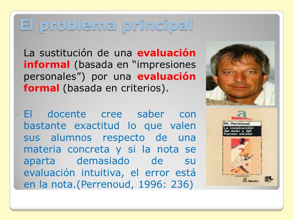 El problema principal La sustitución de una evaluación informal (basada en impresiones personales) por una evaluación formal (basada en criterios). El