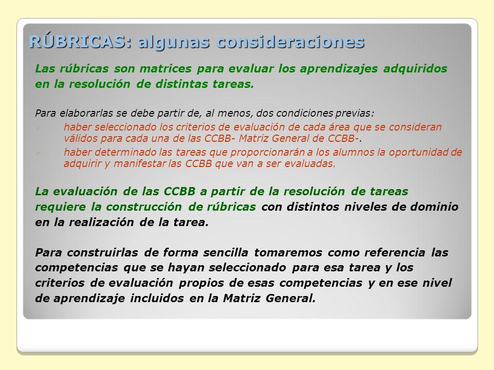 RÚBRICAS: algunas consideraciones Las rúbricas son matrices para evaluar los aprendizajes adquiridos en la resolución de distintas tareas. Para elabor