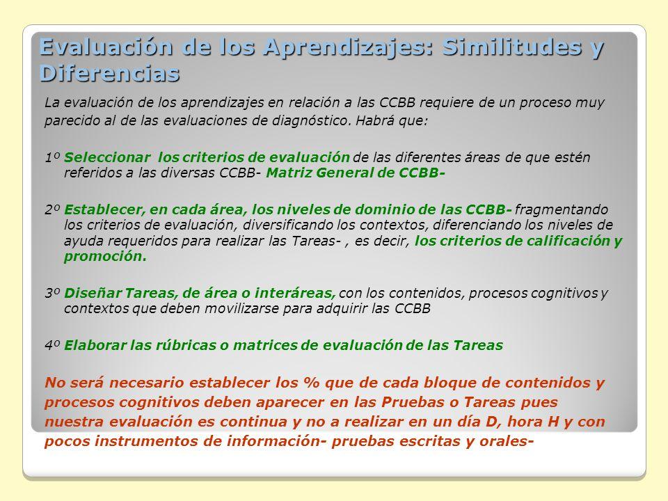 Evaluación de los Aprendizajes: Similitudes y Diferencias La evaluación de los aprendizajes en relación a las CCBB requiere de un proceso muy parecido