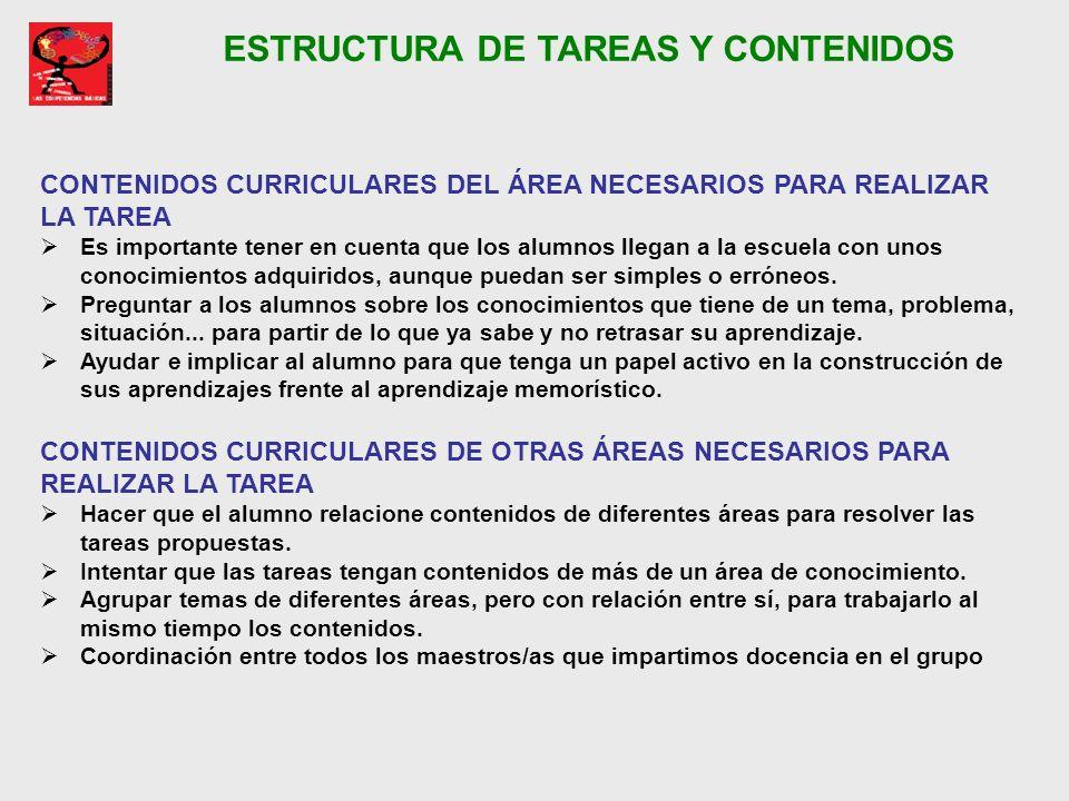 ESTRUCTURA DE TAREAS Y CONTENIDOS CONTENIDOS CURRICULARES DEL ÁREA NECESARIOS PARA REALIZAR LA TAREA Es importante tener en cuenta que los alumnos lle