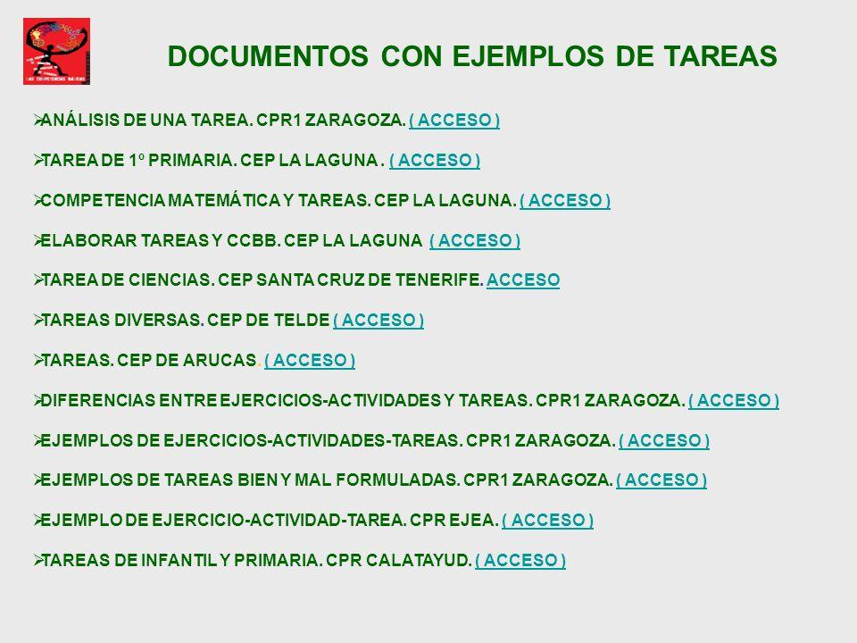 DOCUMENTOS CON EJEMPLOS DE TAREAS ANÁLISIS DE UNA TAREA. CPR1 ZARAGOZA. ( ACCESO )( ACCESO ) TAREA DE 1º PRIMARIA. CEP LA LAGUNA. ( ACCESO )( ACCESO )