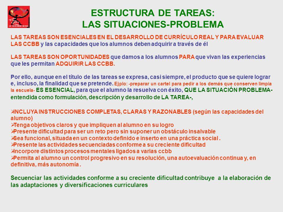 ESTRUCTURA DE TAREAS: LAS SITUACIONES-PROBLEMA LAS TAREAS SON ESENCIALES EN EL DESARROLLO DE CURRÍCULO REAL Y PARA EVALUAR LAS CCBB y las capacidades