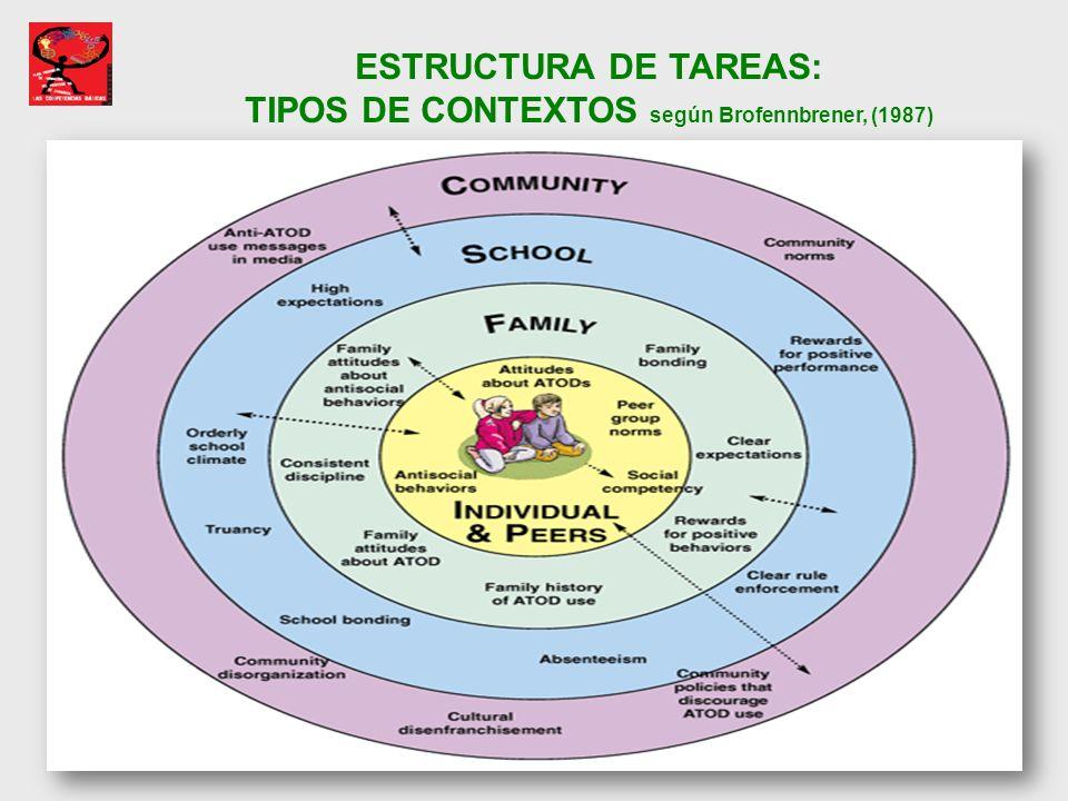 ESTRUCTURA DE TAREAS: TIPOS DE CONTEXTOS según Brofennbrener, (1987)