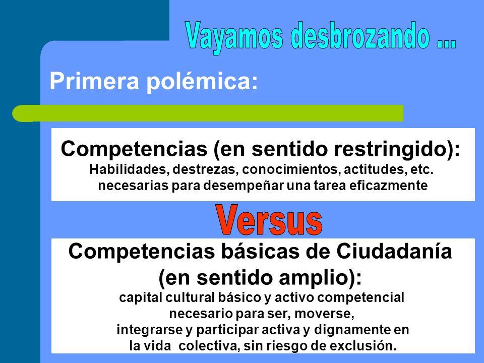 Competencias (en sentido restringido): Habilidades, destrezas, conocimientos, actitudes, etc. necesarias para desempeñar una tarea eficazmente Compete