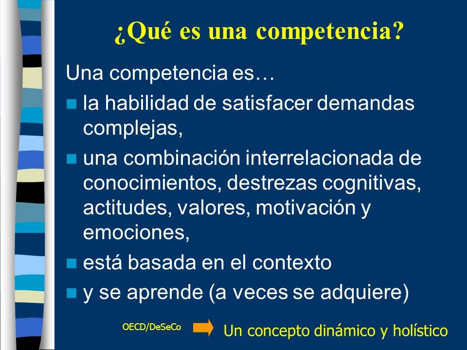 ¿Qué es una competencia? Una competencia es… la habilidad de satisfacer demandas complejas, una combinación interrelacionada de conocimientos, destrez