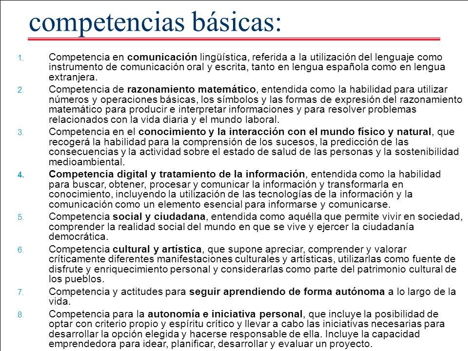 competencias básicas: 1. Competencia en comunicación lingüística, referida a la utilización del lenguaje como instrumento de comunicación oral y escri