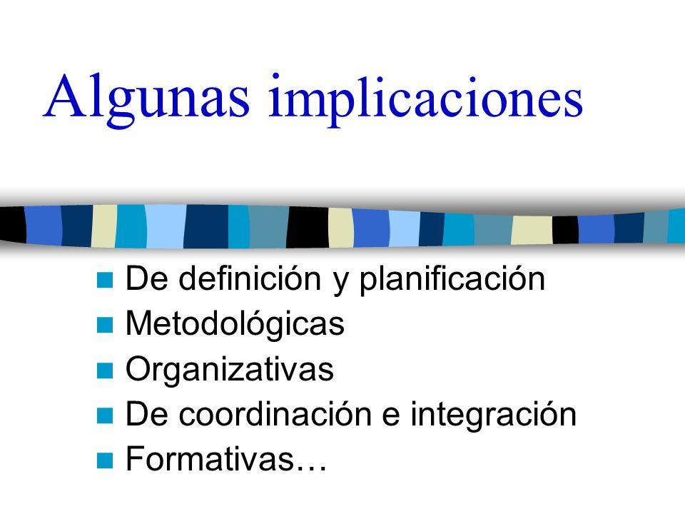 Algunas i mplicaciones De definición y planificación Metodológicas Organizativas De coordinación e integración Formativas…