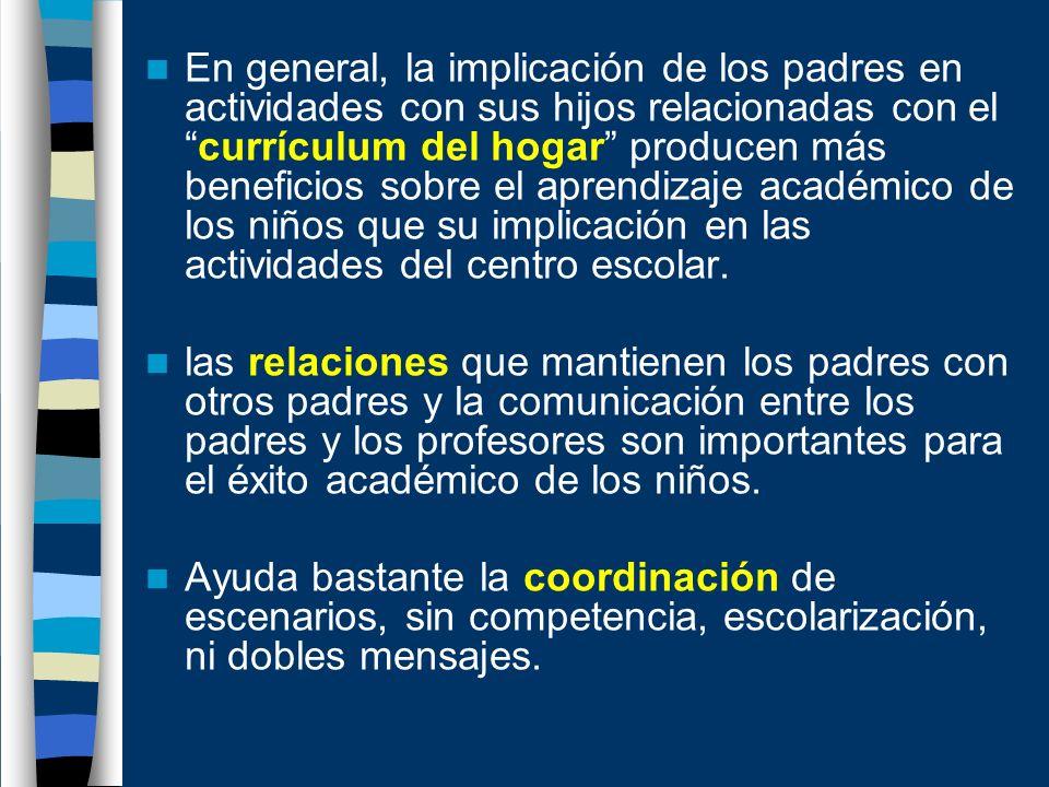 En general, la implicación de los padres en actividades con sus hijos relacionadas con elcurrículum del hogar producen más beneficios sobre el aprendi