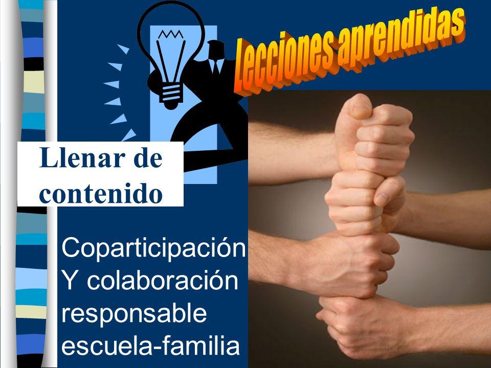 Coparticipación Y colaboración responsable escuela-familia Llenar de contenido