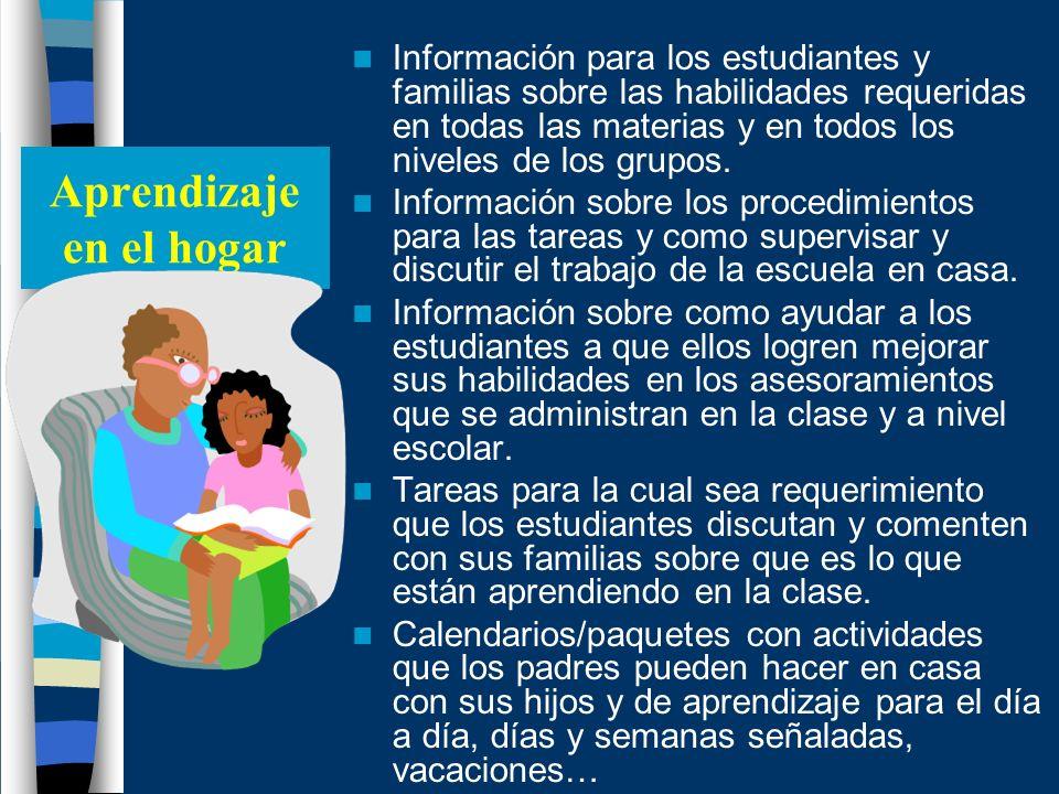 Aprendizaje en el hogar Información para los estudiantes y familias sobre las habilidades requeridas en todas las materias y en todos los niveles de l