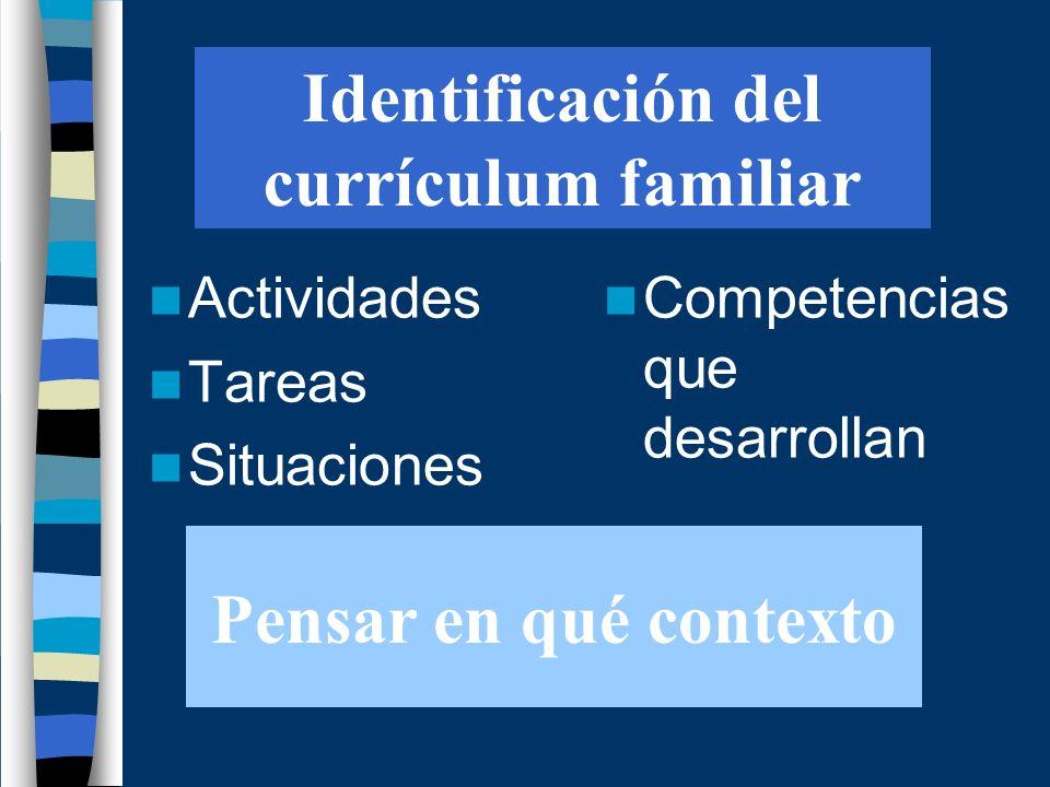 Identificación del currículum familiar Actividades Tareas Situaciones Competencias que desarrollan Pensar en qué contexto