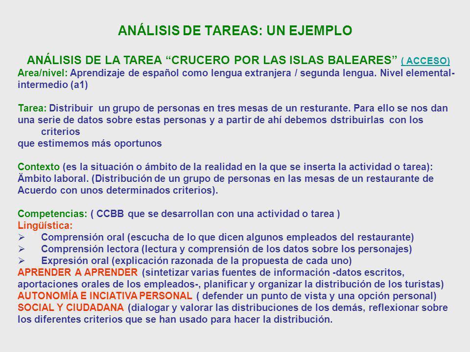 ANÁLISIS DE TAREAS: UN EJEMPLO ANÁLISIS DE LA TAREA CRUCERO POR LAS ISLAS BALEARES ( ACCESO) ( ACCESO) Area/nivel: Aprendizaje de español como lengua