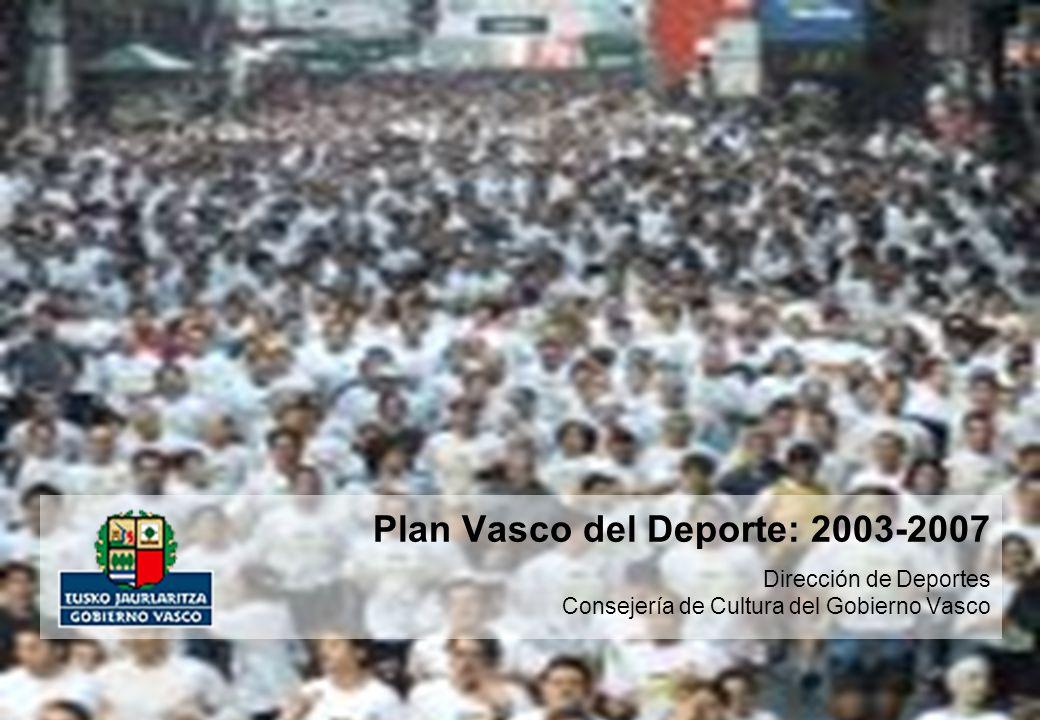 Plan Vasco del Deporte 2003-2007 12 de 38 páginas El Deporte de Participación Niveles de sedentarismo Principales Conclusiones del Diagnóstico (2 de 2) Los niveles de participación en actividad física han crecido en los últimos años, pasando de tasas de sedentarismo del 69% en 1992 al 50% en 1999 (un 25% de manera habitual).