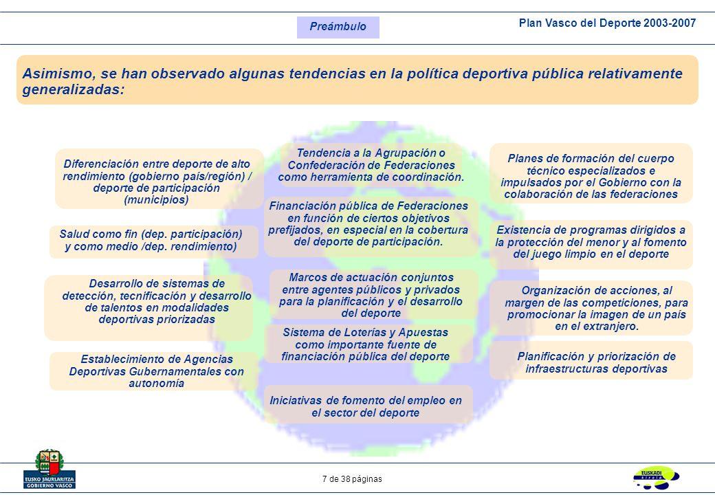 Plan Vasco del Deporte 2003-2007 7 de 38 páginas Asimismo, se han observado algunas tendencias en la política deportiva pública relativamente generali