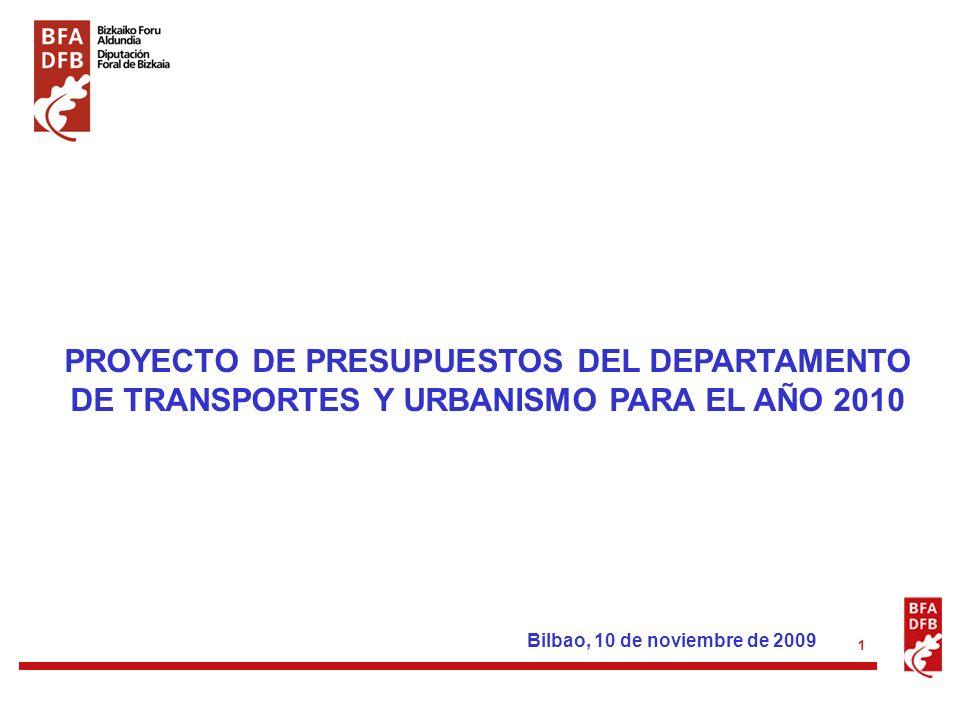 1 PROYECTO DE PRESUPUESTOS DEL DEPARTAMENTO DE TRANSPORTES Y URBANISMO PARA EL AÑO 2010 Bilbao, 10 de noviembre de 2009