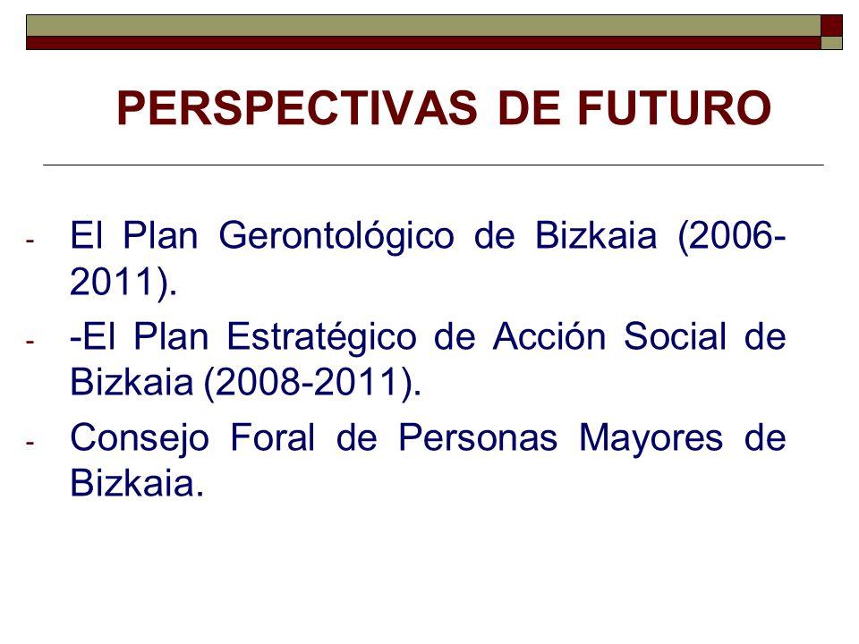 PERSPECTIVAS DE FUTURO - El Plan Gerontológico de Bizkaia (2006- 2011). - -El Plan Estratégico de Acción Social de Bizkaia (2008-2011). - Consejo Fora