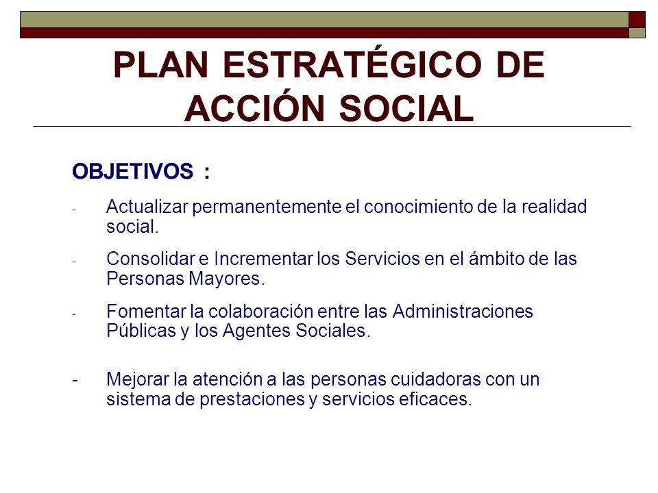 PLAN ESTRATÉGICO DE ACCIÓN SOCIAL OBJETIVOS : - Actualizar permanentemente el conocimiento de la realidad social. - Consolidar e Incrementar los Servi