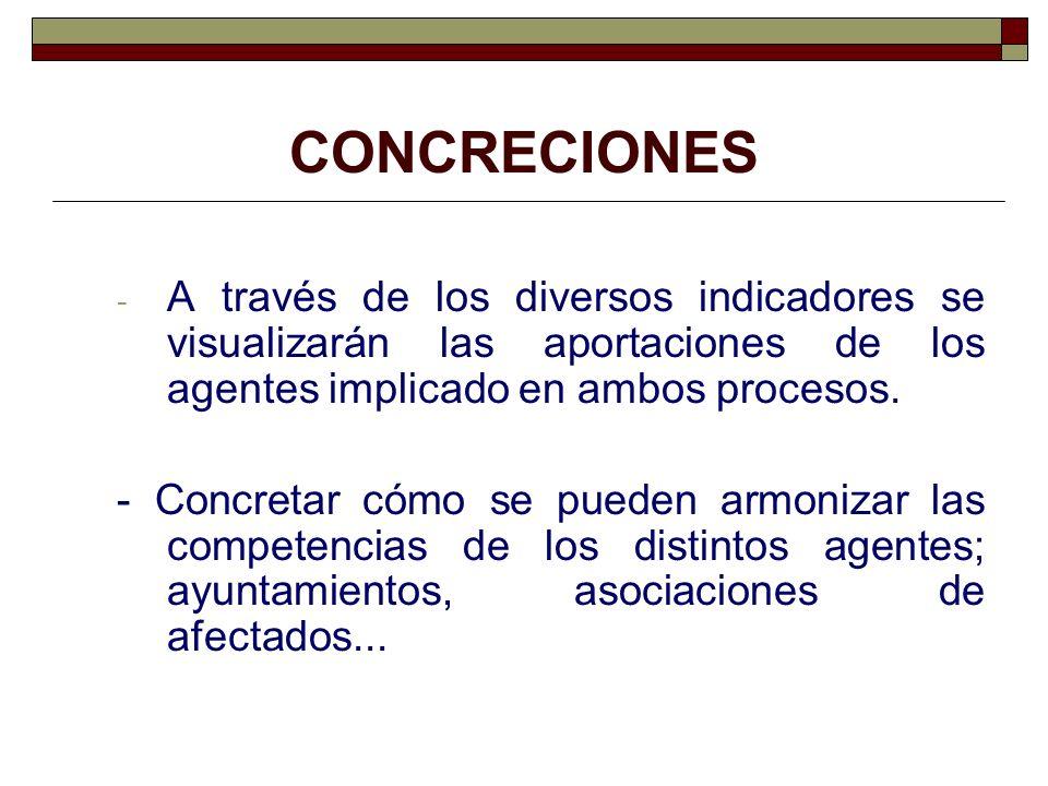 CONCRECIONES - A través de los diversos indicadores se visualizarán las aportaciones de los agentes implicado en ambos procesos. - Concretar cómo se p