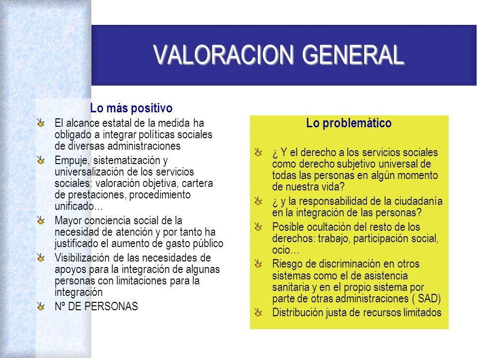 VALORACION GENERAL Lo más positivo El alcance estatal de la medida ha obligado a integrar políticas sociales de diversas administraciones Empuje, sist