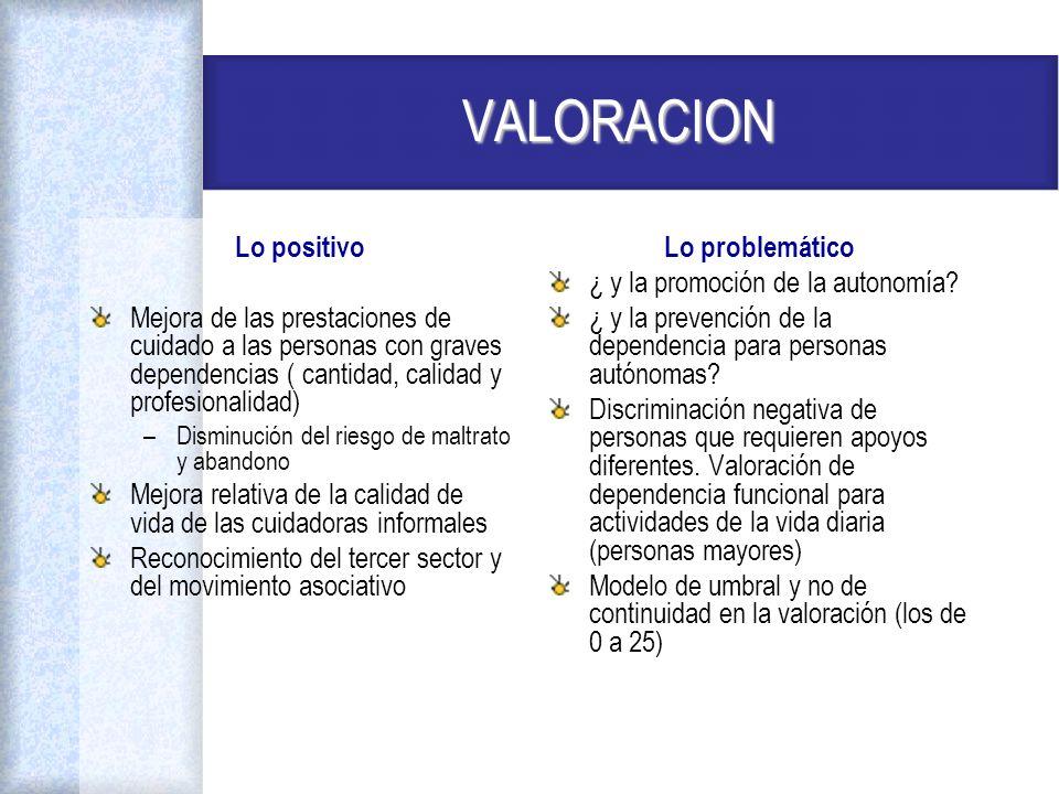 VALORACION Lo positivo Mejora de las prestaciones de cuidado a las personas con graves dependencias ( cantidad, calidad y profesionalidad) –Disminució