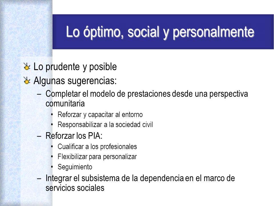 Lo óptimo, social y personalmente Lo prudente y posible Algunas sugerencias: –Completar el modelo de prestaciones desde una perspectiva comunitaria Re