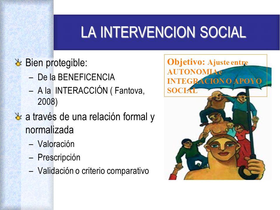 LA INTERVENCION SOCIAL Bien protegible: –De la BENEFICENCIA –A la INTERACCIÓN ( Fantova, 2008) a través de una relación formal y normalizada –Valoraci