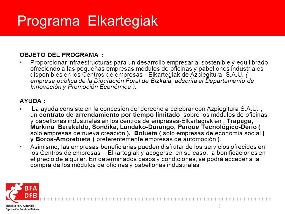 3 Programa Elkartegiak OBJETO DEL PROGRAMA : Proporcionar infraestructuras para un desarrollo empresarial sostenible y equilibrado ofreciendo a las pequeñas empresas módulos de oficinas y pabellones industriales disponibles en los Centros de empresas - Elkartegiak de Azpiegitura, S.A.U.