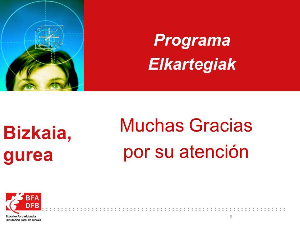 9 Programa Elkartegiak Bizkaia, gurea Muchas Gracias por su atención
