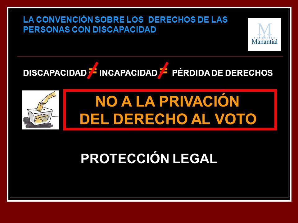 DISCAPACIDAD = INCAPACIDAD = PÉRDIDA DE DERECHOS LA CONVENCIÓN SOBRE LOS DERECHOS DE LAS PERSONAS CON DISCAPACIDAD NO A LA PRIVACIÓN DEL DERECHO AL VOTO PROTECCIÓN LEGAL